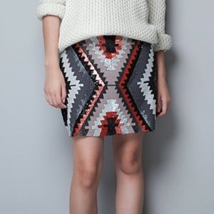 Zara hand embroidery sequins and bead mini skirt S